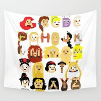alphabet Wall Tapestries featuring Princess Alphabet by Mike Boon