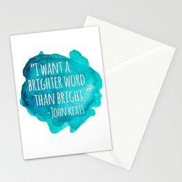 A Brighter Word than Bright - John Keats Stationery Cards