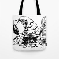 crab Tote Bags featuring Crab by Cowbird
