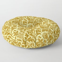 William Morris Thistle Damask in Mustard Gold Floor Pillow