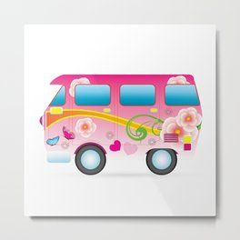 Vector colorful cartoon van. Metal Print