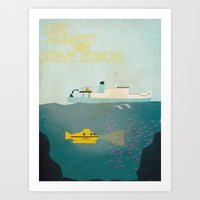 the life aquatic Art Prints featuring Life Aquatic by C&F Prints