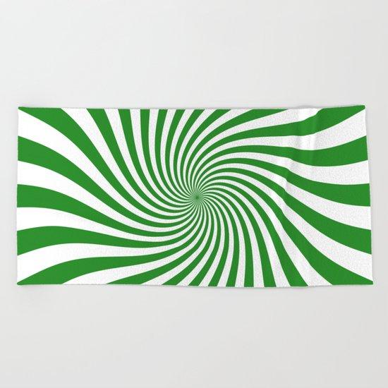 Swirl (Forest Green/White) Beach Towel