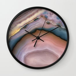 Pink and Blue agate 0425 Wall Clock