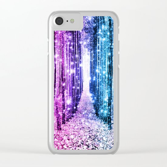 Magical Forest : Aqua Periwinkle Purple Pink Ombre Sparkle Clear iPhone Case