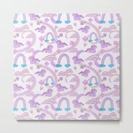 butterflies, Unicorn and rainbow - pattern Metal Print