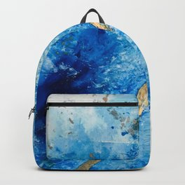 Blue Skies [2]: a pretty, abstract mixed-media piece in blue, gold and white Backpack