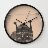 hip hop Wall Clocks featuring Hip hop cat by KRADA ZHAN ART