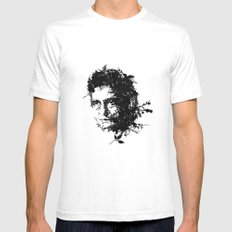 Johnny Cash botanical portrait White SMALL Mens Fitted Tee