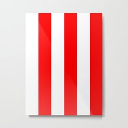 Wide Vertical Stripes - White and Red Metal Print