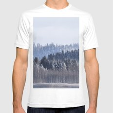 Blue shades in cold winter morning MEDIUM Mens Fitted Tee White