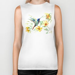 Hummingbird and Flowers, floral design Hawaiian tropical Biker Tank