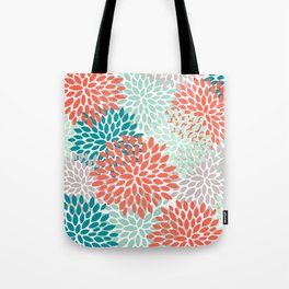 Floral Pattern, Living Coral, Teal and Mint Green Tote Bag