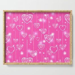 Openwork hearts on a bright pink background Serving Tray