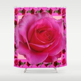 LARGE FUCHSIA PINK ROSE PATTERN ART Shower Curtain