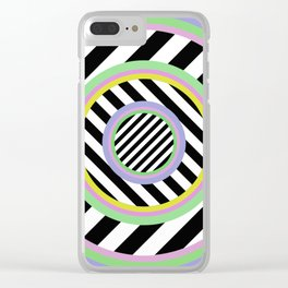 Circles, stripes and pastel colours Clear iPhone Case