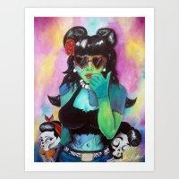 rockabilly Art Prints featuring Rockabilly Zombie by Grand Theft Artist