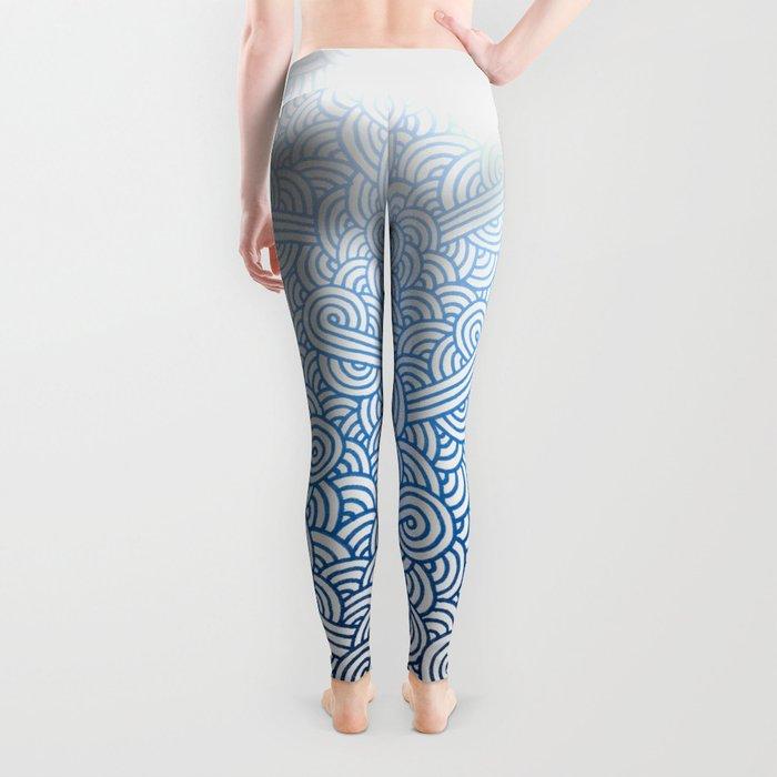 Gradient blue and white swirls doodles Leggings