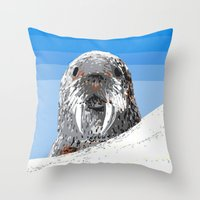 walrus Throw Pillows featuring Walrus by wingnang