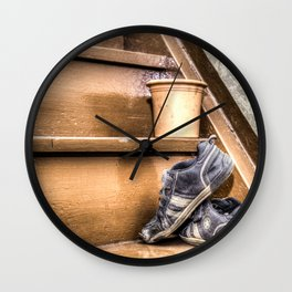 Old children's shoes on a stairway Wall Clock