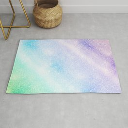 Modern Blue Purple Glitter Ombre Glam Design Rug