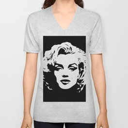 Marilyn - Black and White - Monroe - Pop Art Unisex V-Neck