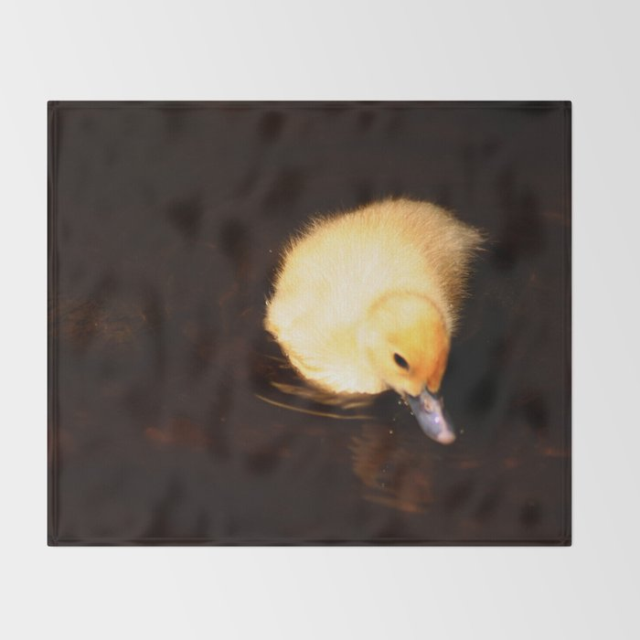 Baby Duckling Swimming Throw Blanket By Annaki