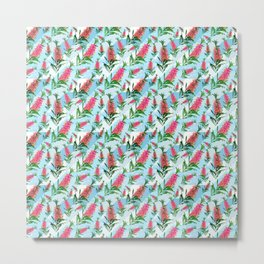 Beautiful Pink Australian Natives on Blue Geometric Background Metal Print