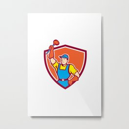 Plumber Holding Plunger Up Shield Cartoon Metal Print