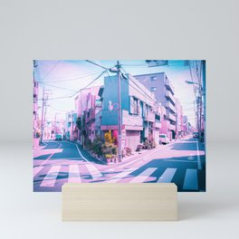 Anime in Real Life Vaporwave Summer Day in Tokyo Residential area Mini Art Print