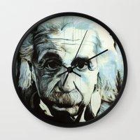 einstein Wall Clocks featuring Einstein by Olivia Potts Art