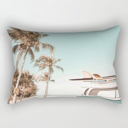 Retro Camper Van with Surfboard at the Beach Rectangular Pillow