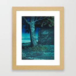 Kawase Hasui Vintage Japanese Woodblock Print Moonlight Shadows Under A Tall Tree Wooden Shrine Framed Art Print