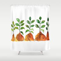 succulents Shower Curtains featuring Succulents by Gosia&Helena