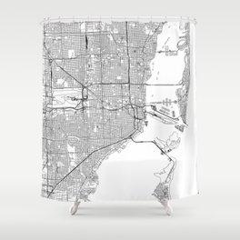 Miami White Map Shower Curtain