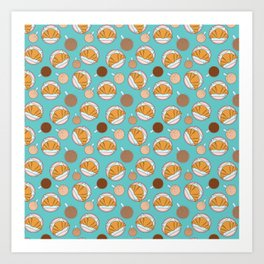 Coffee and croissant pattern Art Print