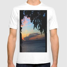 SUNSET BETWEEN TREES. Mens Fitted Tee White MEDIUM