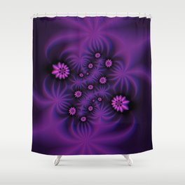 Berry Colored Fractal Flowers Shower Curtain