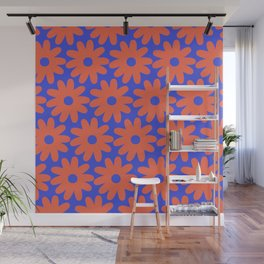 Crayon Flowers 3 Cheerful Smudgy Floral Pattern in Coral and Bright Blue Wall Mural