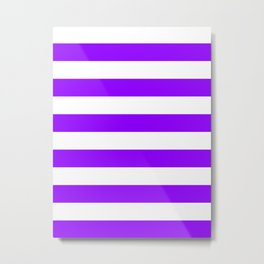 Horizontal Stripes - White and Violet Metal Print