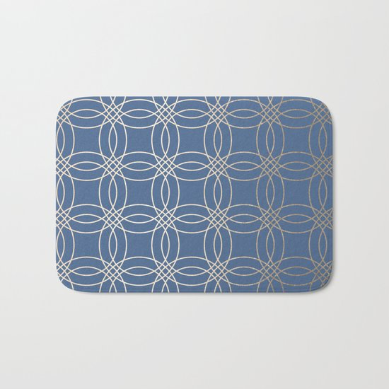 Simply Vintage Link in White Gold Sands and Aegean Blue Bath Mat