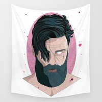 moustache Wall Tapestries featuring Beard and Moustache by EvaJC