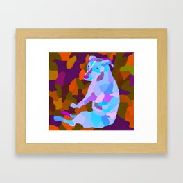 Camouflage Petra the pitbull version three Framed Art Print
