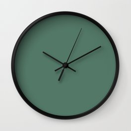 Latin Zest Dark Green Gray Solid Color Pairs To Sherwin Williams Kendal Green SW 6467 Wall Clock