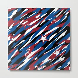 Patriotic Camouflage Red White and Blue with Stars American Pride Abstract Pattern Metal Print