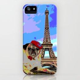 A Pug in Paris iPhone Case