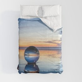 Blue Ocean Beach Lensball Reflections at Sunset Comforters