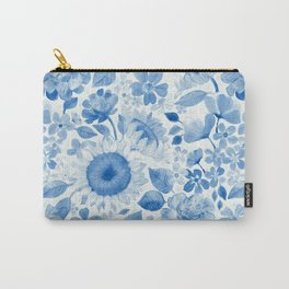 Denim Blue Monochrome Retro Floral Carry-All Pouch