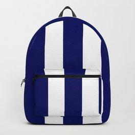 Dark Navy blue - solid color - white vertical lines pattern Backpack