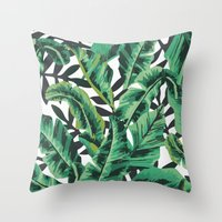 classic Throw Pillows featuring Tropical Glam Banana Leaf Print by Nikki